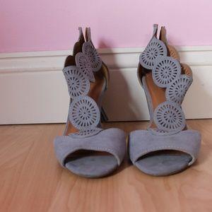 Faux suede peep toe sandals